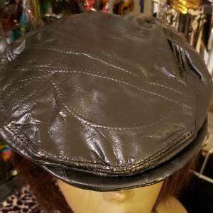 Mens Leather Vintage Newsboy Cap